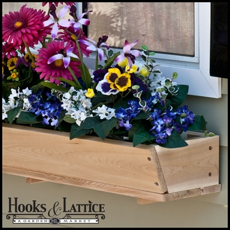 "26"" Tapered Cedar Wood Window Box Including Mounting Bracket"