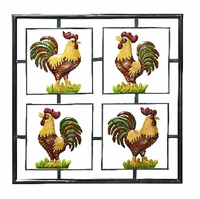 """26""""w x 26""""H Four Colorful Roosters Wall Decor"""