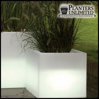 "28""L x 28""W x 24""H Vinci Illuminated Cube Planter"