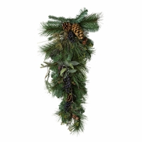 28in. Artificial Blue Spruce Teardrop Wreath w/ Blueberries