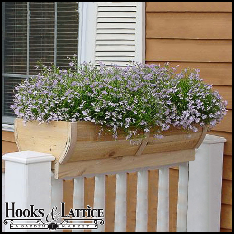 28in rounded cedar deck rail planter half barrel design for Balcony planters