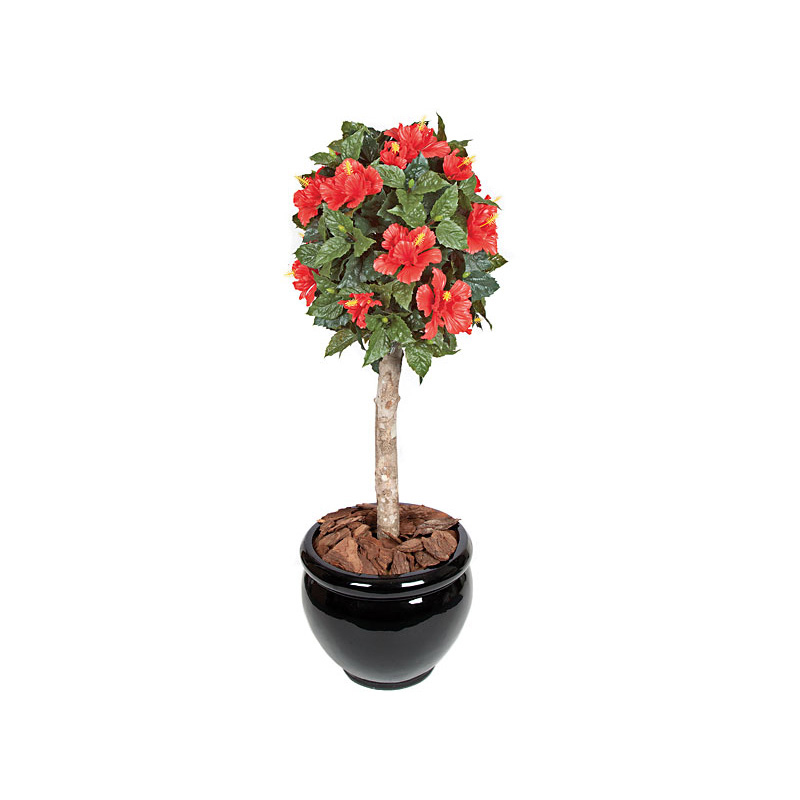 outdoor artificial topiary plants - hibiscus | hooks & lattice Artificial Shrubs and Plants