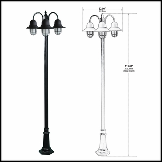 3-Light Post Mount Caged Glass - 120v Powder Coated Cast Aluminum|Decorative Base Included