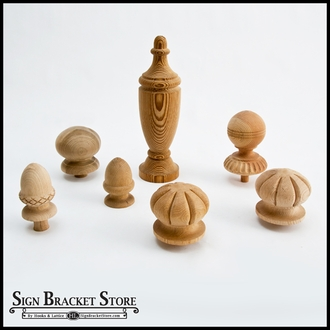 """3"""" Wood Decorative Finial- Furniture Grade, Style D10 Carved"""