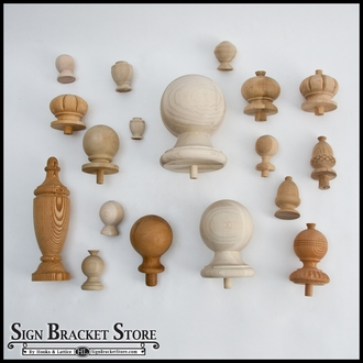 "5"" Wood Decorative Finial- Furniture Grade, Style D10 Carved"