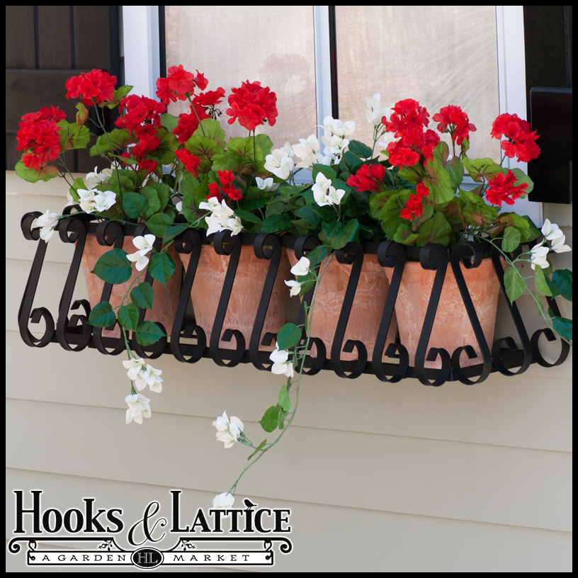 European Window Boxes 30 Inch Metal Planter Boxes Hooks And Lattice