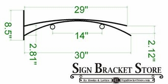 "30"" Haiku Arch Hanging Blade Sign Bracket"
