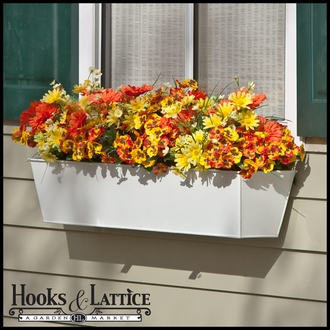 30in. Galvanized Window Box - White