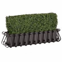 30in. Outdoor Artificial Boxwood Hedge with European Cage w/ Liner Window Box