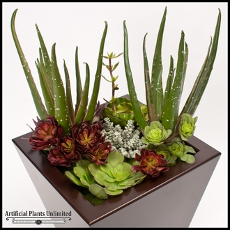 32in. Urban Chic Planter with Artificial Aloe and Assorted Succulents