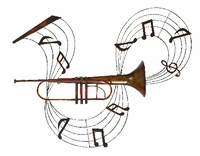 """32""""W x 28""""H Trumpet with Notes Wall Decor Art"""