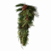 32in. Artificial Sugar Pine Teardrop Wreath