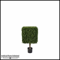 33in.H Duraleaf Boxwood Topiary Cube Tree in Weighted Base, Outdoor Rated