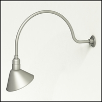 "Aluminum Gooseneck RLM Light | 34""L x 3/4""Dia. Arm with 12"" Angle Shade"