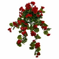 34in. Geranium Hanging Vine, Outdoor Rated - Red