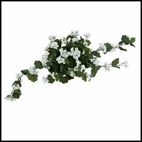 24in. Geranium Hanging Vine, Outdoor Rated - White