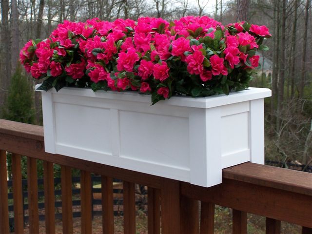 white planter rail lattice deck flower box planters