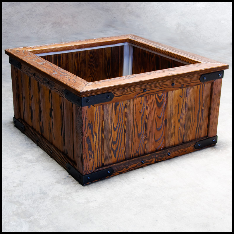 36 L X 36 W X 26 H Rustic Barnwood Planter W Steel Frame For Trees