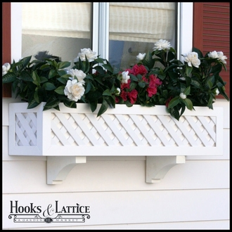 "36"" Lattice Premier Window Box w/ *Easy Up* Cleat Mounting System"