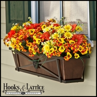 "36"" Medallion Decora Window Boxes w/ Oil-Rubbed Bronze Galvanized Liner"