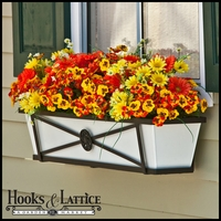 "36"" Medallion Decora Window Boxes w/White  Galvanized Liner"