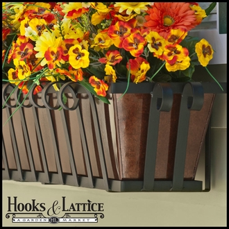 "36"" Venetian Decora Window Box with Oil - Rubbed Bronze Galvanized Liner"