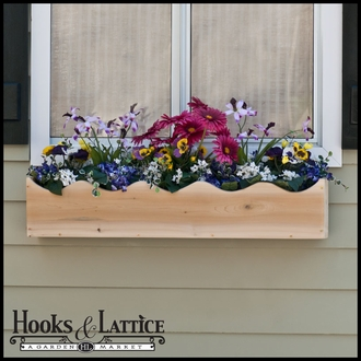 "36"" Wood Scalloped Window Box"