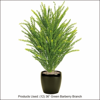 36in. Artificial Barberry Shrub Green-Outdoor Rated