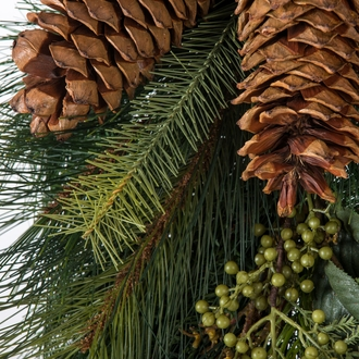 36in. Artificial Pine Teardrop Wreath w/ Pine Cones