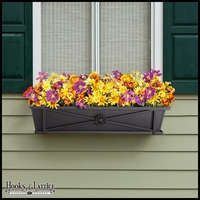 36in. Medallion Decora Window Box w/ Black Tone Galvanized Liner