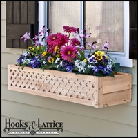 "38"" Lattice Cedar Wood Window Box Includes Mounting Bracket"