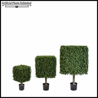 45in.H Duraleaf Boxwood Topiary Cube Tree in Black Metal Planter, Outdoor Rated