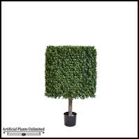 39in.H Duraleaf Boxwood Topiary Cube Tree in Weighted Base, Indoor Rated