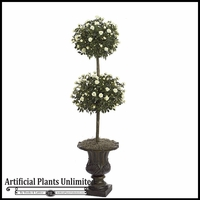 4' Artificial Flowering Mini Rose Topiary