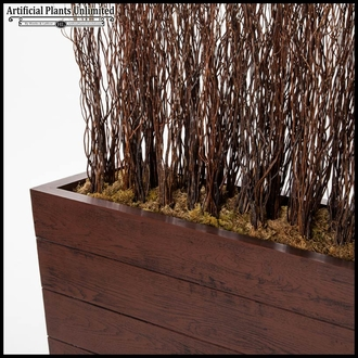 4'L x 6'H Curly Willow Screen in Madera Fiberglass Planter