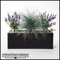 "40""L Lavender and Prairie Grass Planting in Black Metal Planter"