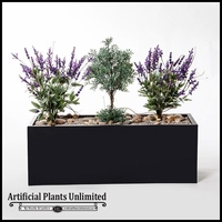 "40""L Lavender and Sage Planting in Black Metal Planter"