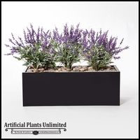 "40""L Lavender Planting in Black Metal Planter"