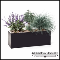 "40""L Lavender, Sage and Prairie Grass Planting in Black Metal Planter"