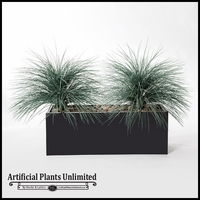"40""L Prairie Grass Planting in Black Metal Planter"