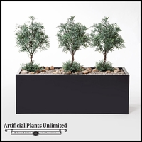 "40""L Sage Planting in Black Metal Planter"