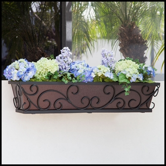 42in. Regalia Decora Window Box with Textured Bronze Liner (Hammered Finish)