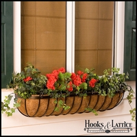 "48"" Deluxe Scroll Window Box w/ Std Coconut Coir Liner"