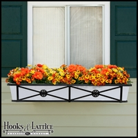 "48"" Medallion Decora Window Boxes w/White  Galvanized Liner"
