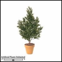 4' Outdoor Artificial Podocarpus Bush with Natural Trunk