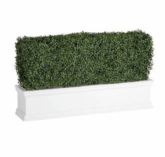 30in. Outdoor Artificial Boxwood Hedge in White Window Box