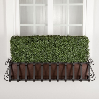 48in. Outdoor Artificial Boxwood Hedge with European Cage w/ Liner Window Box