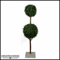 5' Boxwood 2 Ball Topiary Sphere Tree, Outdoor