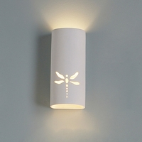 "5"" Single Dragonfly Ceramic Cylinder Sconce"