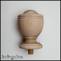 "5"" Wood Decorative Finial- Furniture Grade, Style D8"
